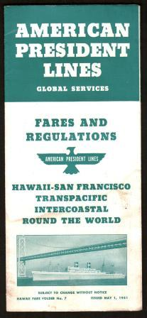 Image for American President Lines Brochure: Fares and Regulations, 1951, Hawaii Fare Folder No. 7