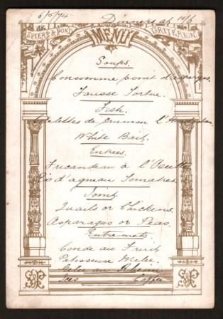 Image for Hand-written Dinner Menu from London's old Criterion Theatre, 1874