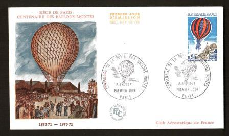 Image for First Day Cover: Siege de Paris Centenaire des Ballons Montes, 1870-71 to 1970-71