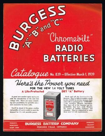 Image for Burgess A B and C 'Chromebilt Radio Batteries Catalogue; 1939