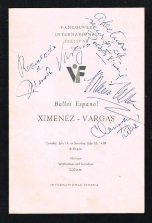 Image for Program from the 1959 Vancouver International Festival: Ballet Espanol Ximinez-Vargas, with Autographs
