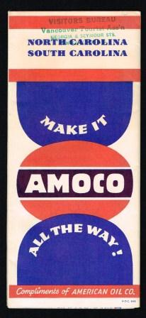 Image for Amoco Road Map of North and South Carolina, 1949
