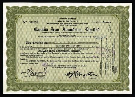Canada Iron Foundries, Limited; Share Certificate